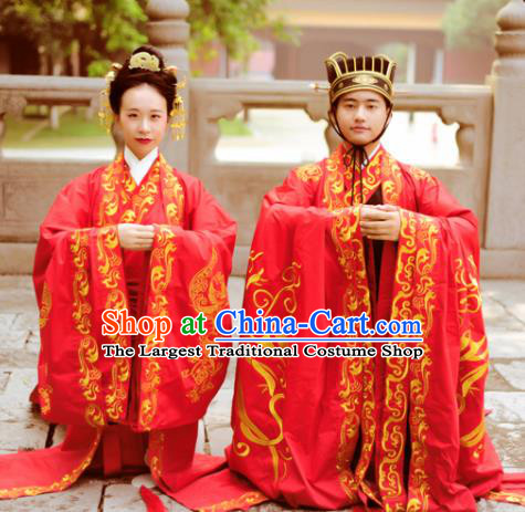 Chinese Ancient Han Dynasty Bride and Bridegroom Wedding Historical Costumes Complete Set