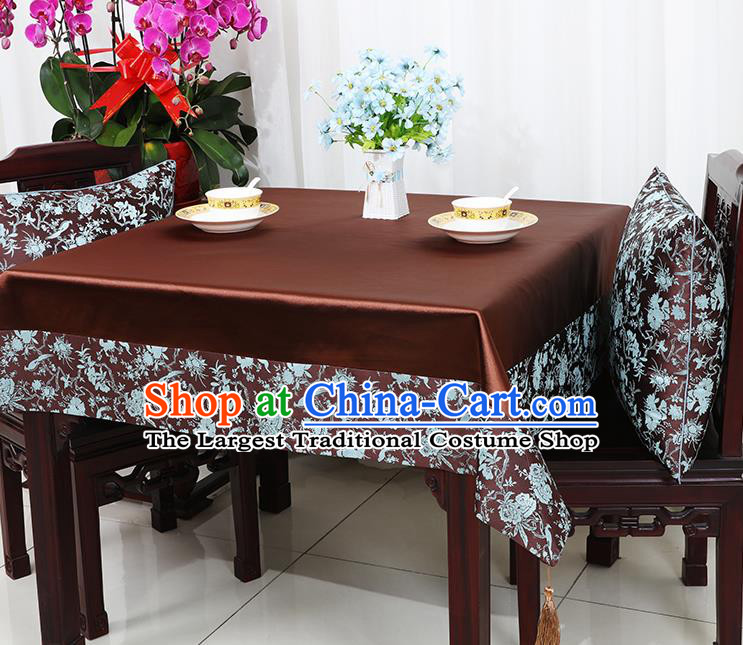 Chinese Traditional Peony Birds Pattern Brown Brocade Table Cloth Classical Satin Household Ornament Desk Cover