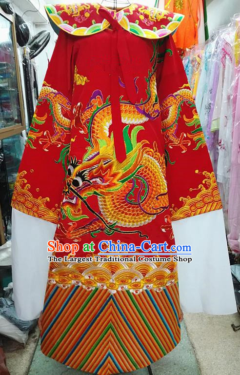 Chinese Traditional Beijing Opera Minister Costume Peking Opera Old Gentleman Red Embroidered Robe for Adults
