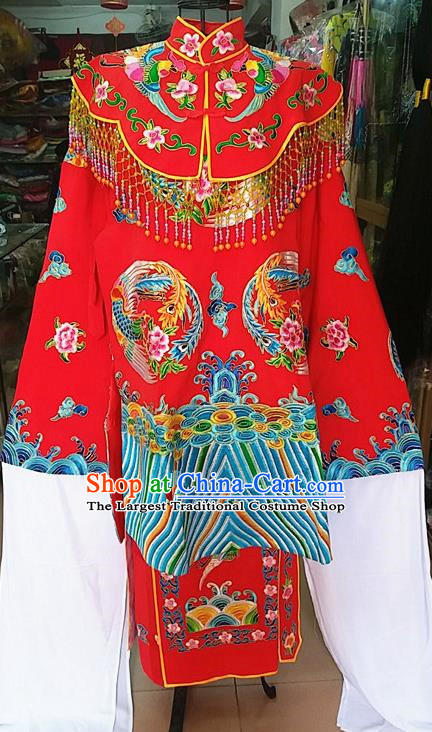 Chinese Traditional Beijing Opera Empress Red Embroidered Dress Peking Opera Actress Costume for Adults