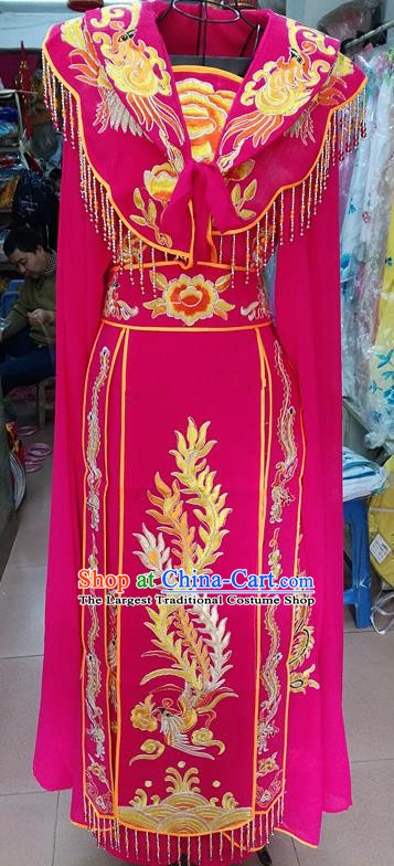 Chinese Traditional Beijing Opera Princess Rosy Embroidered Dress Peking Opera Actress Costume for Adults