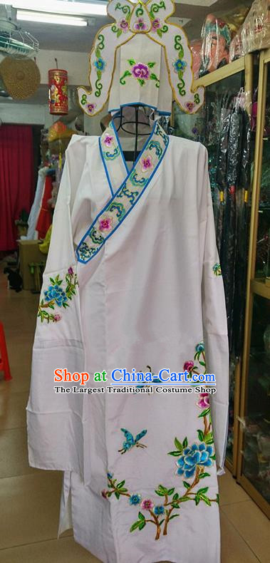 Chinese Traditional Beijing Opera Niche Costume Peking Opera Nobility Childe White Robe for Adults
