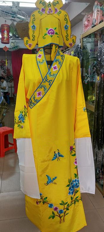 Chinese Traditional Beijing Opera Niche Costume Peking Opera Nobility Childe Yellow Robe for Adults