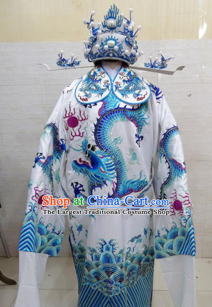 Chinese Traditional Beijing Opera Chancellor White Embroidered Robe Peking Opera Old Men Costume for Adults
