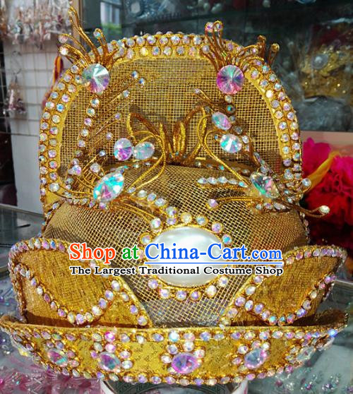 Chinese Traditional Beijing Opera Emperor Golden Hat Peking Opera Headwear for Adults