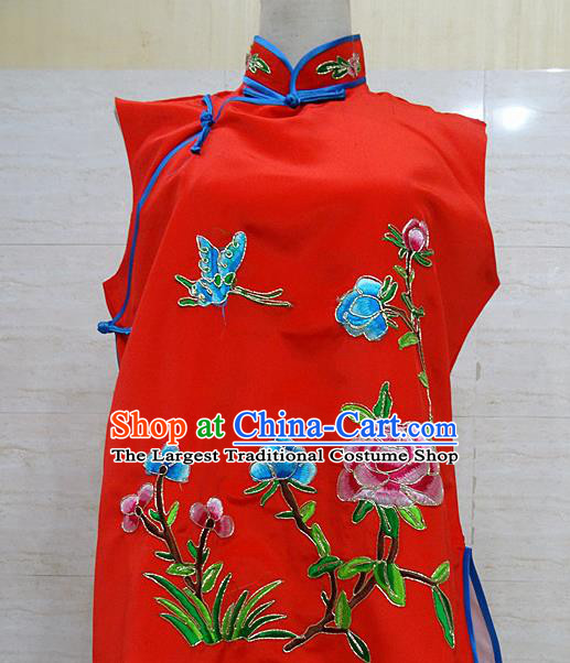 Chinese Traditional Beijing Opera Embroidered Peony Red Waistcoat Peking Opera Maidservants Costume for Adults