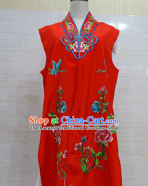 Chinese Traditional Beijing Opera Maidservants Red Embroidered Peony Waistcoat Peking Opera Costume for Adults