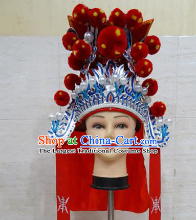 Chinese Traditional Beijing Opera Takefu Red Hat Ancient General Helmet Headwear for Adults