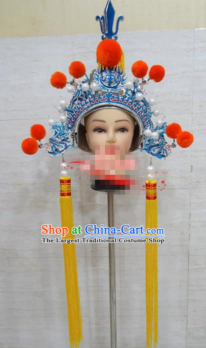 Chinese Traditional Beijing Opera General Hat Ancient Military Officer Helmet Headwear for Adults