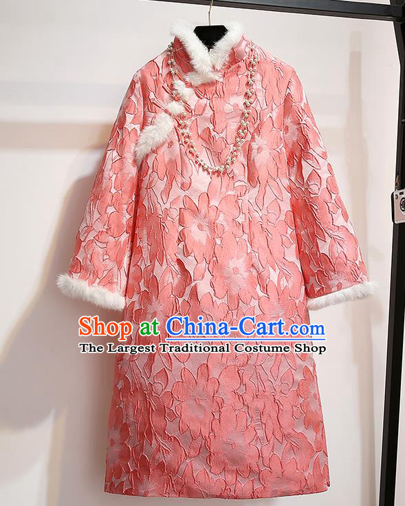 Chinese Traditional National Costume Tang Suit Qipao Dress Pink Cheongsam for Women