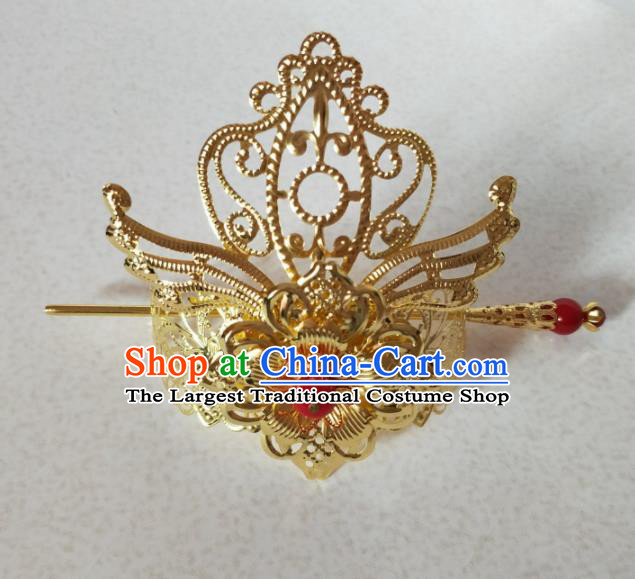 Chinese Traditional Hair Accessories Ancient Swordsman Prince Golden Hairdo Crown Headwear for Men