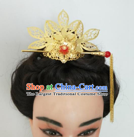 Chinese Traditional Hair Accessories Ancient Princess Golden Lotus Hair Crown for Women