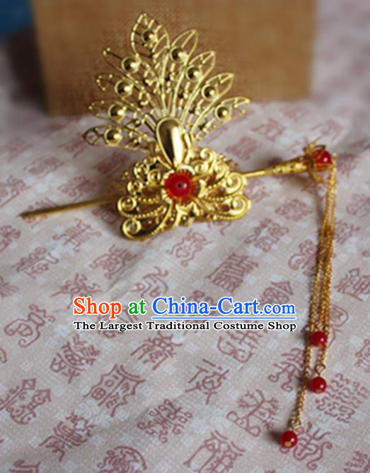 Chinese Traditional Prince Hair Accessories Ancient Swordsman Red Beads Tassel Hairdo Crown Headwear for Men