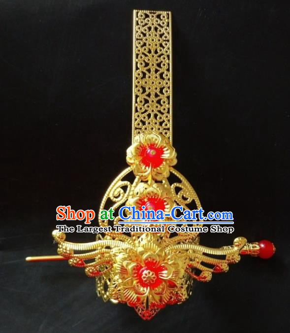 Chinese Traditional Prince Hair Accessories Ancient Swordsman Red Beads Hairdo Crown Headwear for Men