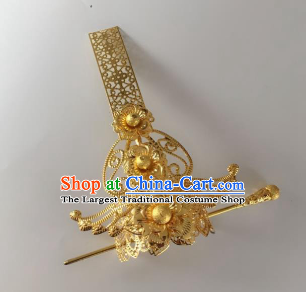 Chinese Traditional Prince Hair Accessories Ancient Swordsman Golden Beads Hairdo Crown Headwear for Men