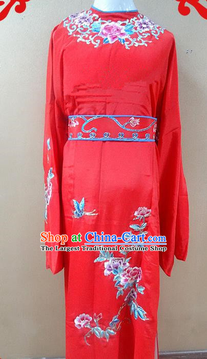 Professional Chinese Beijing Opera Niche Red Embroidered Peony Robe Traditional Peking Opera Scholar Costume for Adults