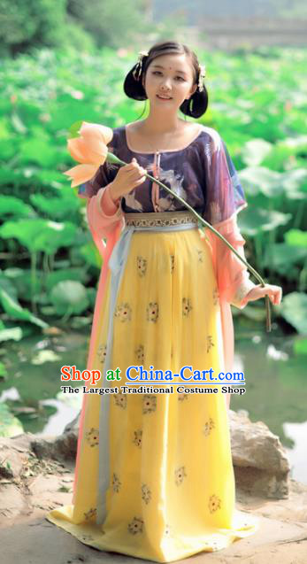 Chinese Ancient Traditional Tang Dynasty Court Maid Historical Costumes Complete Set