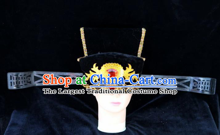 Chinese Traditional Beijing Opera Royal Highness Headwear Peking Opera Chancellor Black Hat