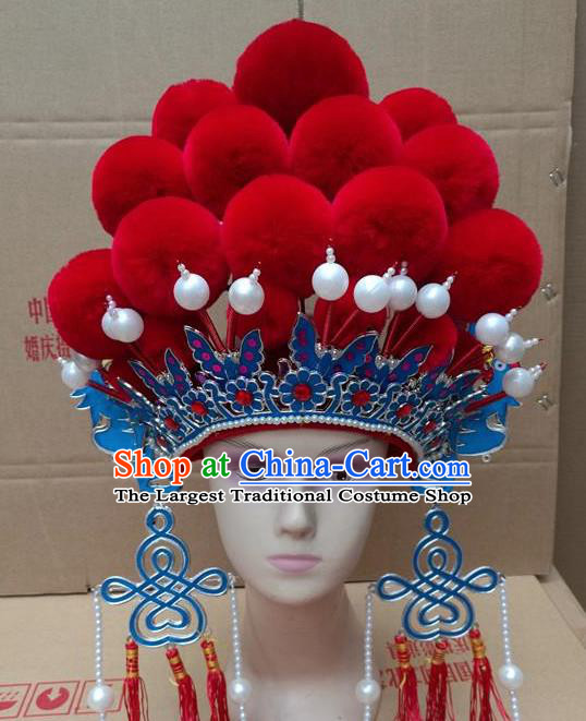 Chinese Traditional Beijing Opera Queen Hair Accessories Ancient Bride Red Venonat Phoenix Coronet