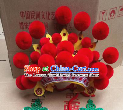 Chinese Traditional Beijing Opera Queen Red Venonat Hair Accessories Ancient Bride Phoenix Coronet