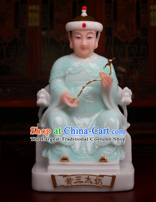 Chinese Traditional Religious Supplies Feng Shui Green Goddess Statue Taoism Accessories