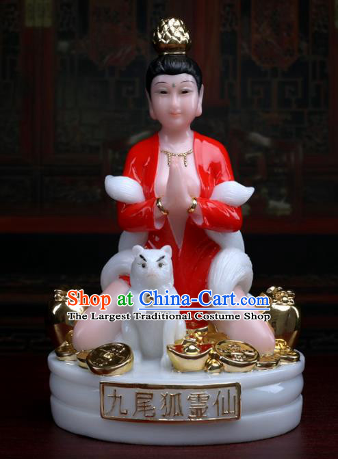 Chinese Traditional Religious Supplies Feng Shui Gumiho Goddess Statue Taoism Decoration