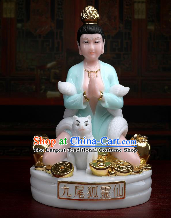 Chinese Traditional Religious Supplies Feng Shui Green Gumiho Goddess Statue Taoism Decoration