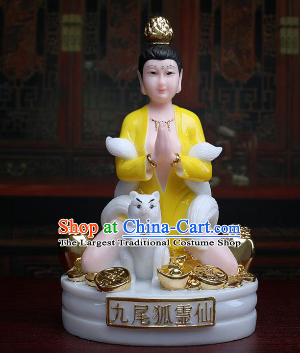 Chinese Traditional Religious Supplies Feng Shui Yellow Gumiho Goddess Statue Taoism Decoration