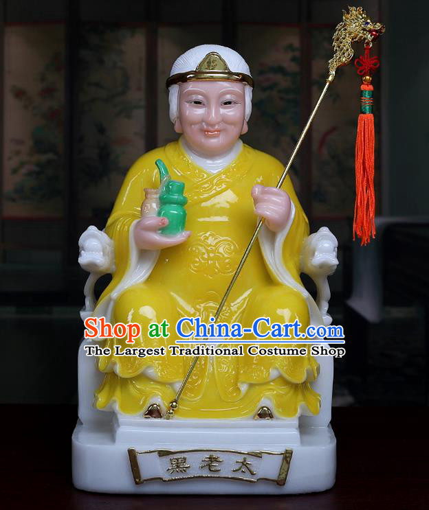 Chinese Traditional Religious Supplies Feng Shui Goddess Yellow Cloth Statue Taoism Decoration