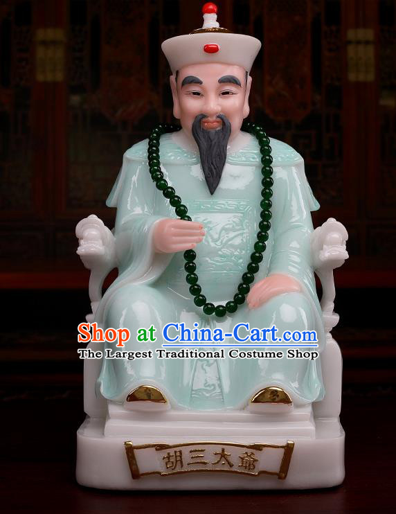 Chinese Traditional Religious Supplies Feng Shui Gnome Green Cloth Statue Taoism Decoration
