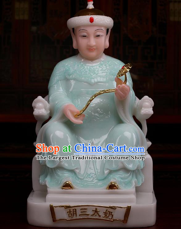 Chinese Traditional Religious Supplies Feng Shui Fox Goddess Green Cloth Statue Taoism Decoration