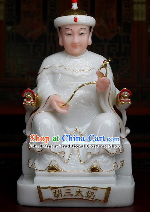 Chinese Traditional Religious Supplies Feng Shui Fox Goddess White Cloth Statue Taoism Decoration