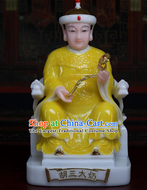 Chinese Traditional Religious Supplies Feng Shui Fox Goddess Yellow Cloth Statue Taoism Decoration