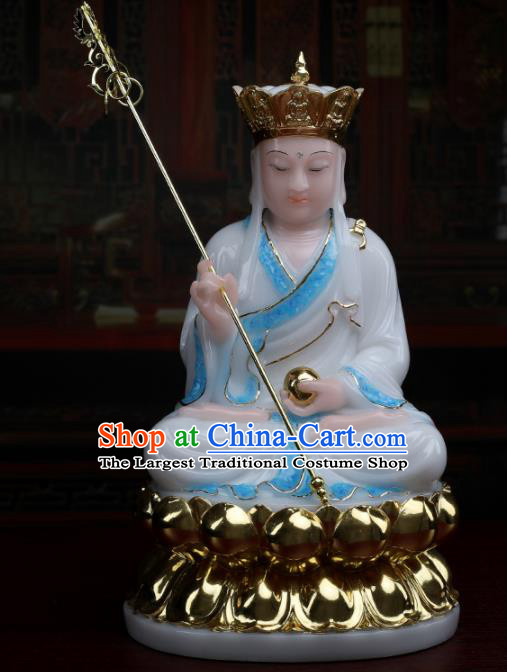 Chinese Traditional Religious Supplies Feng Shui Ksiti Garbha Blue Cloth Statue Buddhism Decoration