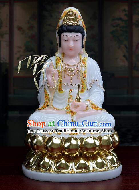 Chinese Traditional Religious Supplies Feng Shui Avalokitesvara White Cloth Statue Buddhism Decoration