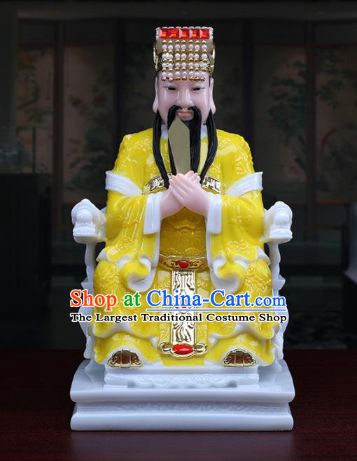 Chinese Traditional Religious Supplies Feng Shui Yellow Cloth Taoism Supreme Deity Statue Decoration
