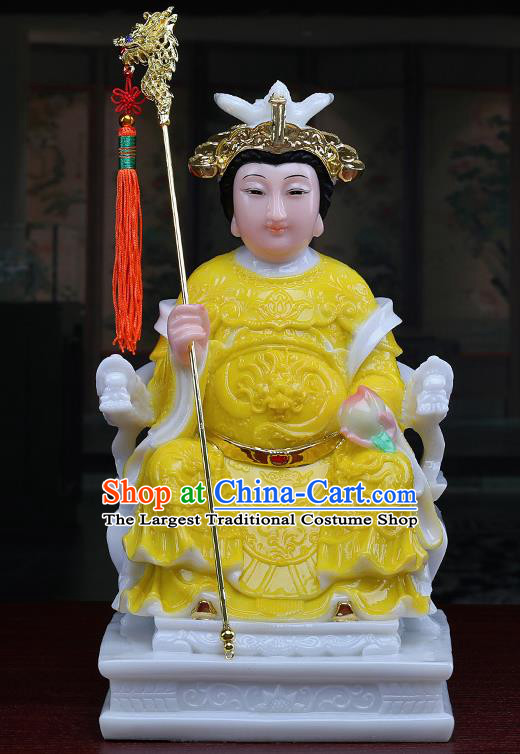 Chinese Traditional Religious Supplies Feng Shui Yellow Cloth Taoism Heavenly Queen Statue Decoration
