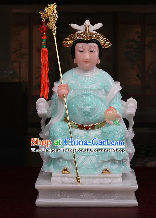 Chinese Traditional Religious Supplies Feng Shui Green Cloth Taoism Heavenly Queen Statue Decoration
