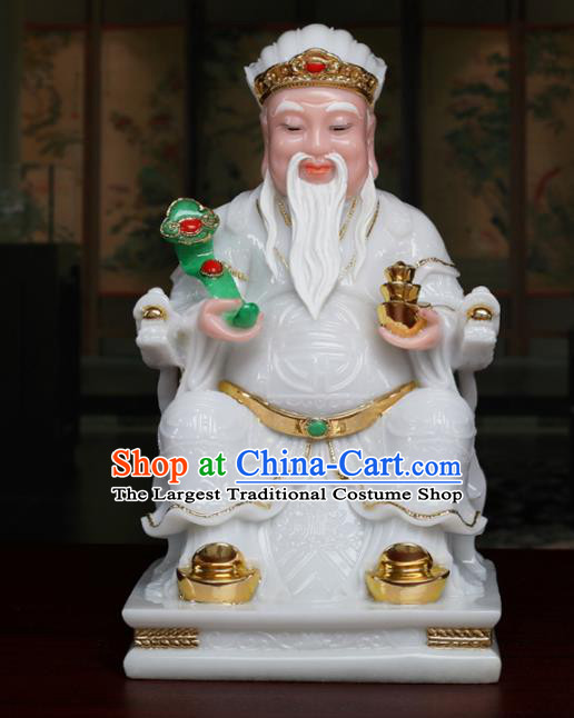 Chinese Traditional Religious Supplies Feng Shui White Marble Taoism Gnome Statue Decoration
