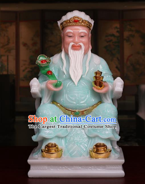 Chinese Traditional Religious Supplies Feng Shui Green Marble Taoism Gnome Statue Decoration