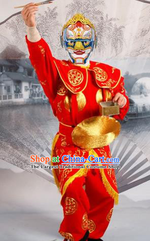 Chinese Traditional Beijing Opera Takefu Sun Wukong Costume Ancient Warrior Red Clothing
