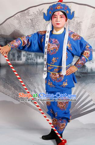 Chinese Traditional Beijing Opera Takefu Blue Costume Ancient Imperial Bodyguard Clothing