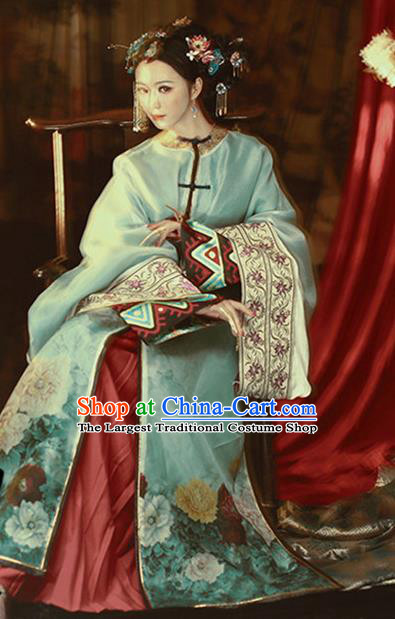 Chinese Ancient Nobility Lady Hanfu Dress Traditional Qing Dynasty Manchu Princess Costume and Headpiece for Women