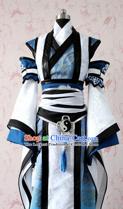 Chinese Ancient Swordsman Costume Traditional Cosplay Taoist Priest Clothing for Men