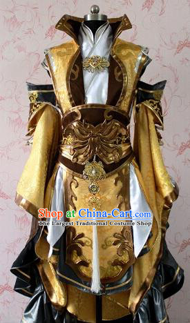 Chinese Ancient General Swordsman Golden Costume Traditional Cosplay Royal Highness Clothing for Men