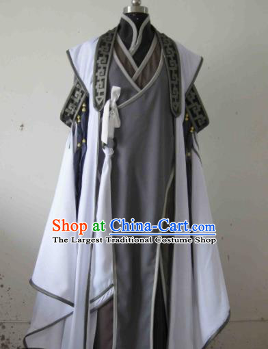 Chinese Ancient Nobility Childe Grey Costume Traditional Cosplay Swordsman Taoist Clothing for Men
