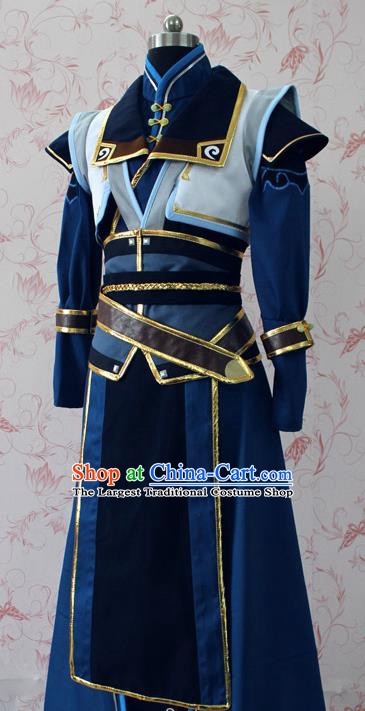 Chinese Ancient Swordsman Blue Costume Traditional Cosplay Young Knight Clothing for Men