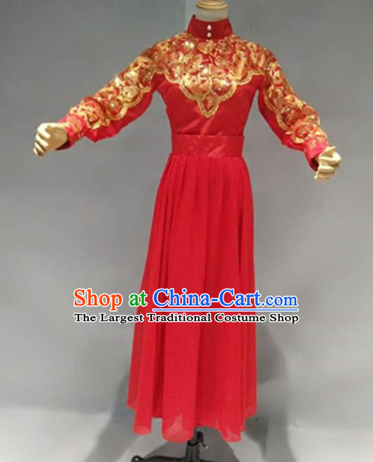 Traditional Chinese Classical Dance Costume China Ancient Folk Dance Red Dress for Women