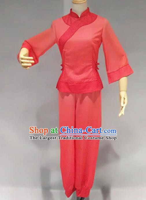 Traditional Chinese Folk Dance Red Costume China Fan Dance Clothing for Women