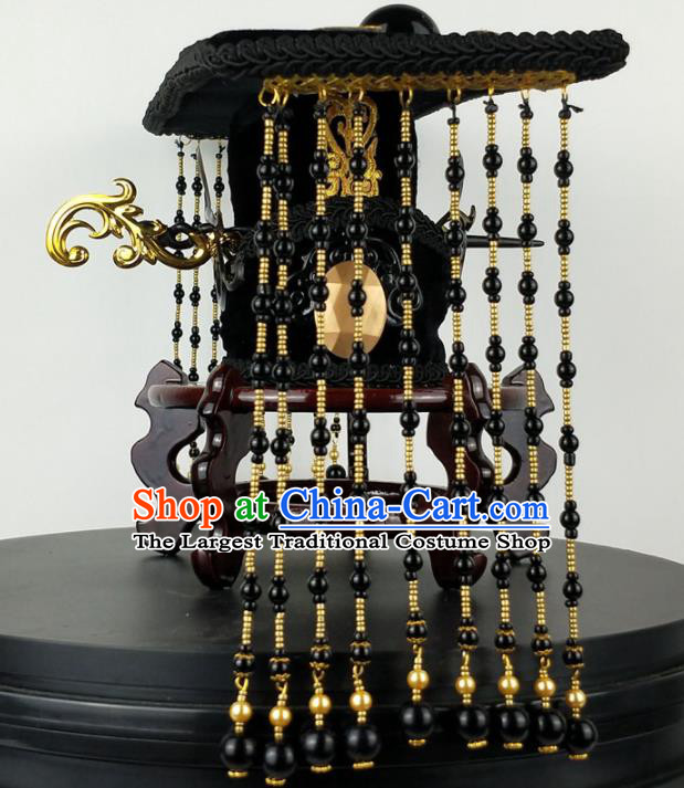 Asian Chinese Ancient Han Dynasty Emperor Tassel Hat Headwear for Men